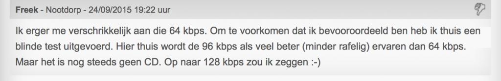 DAB+ 64 kbps niet acceptabel