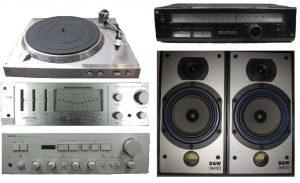 Vintage audio bij kringloopwinkel